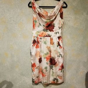 H&M Cream and Floral Satin Dress size 8 in EUC